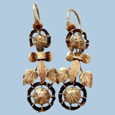 18 Carat Night and Day Earrings, Early Victorian