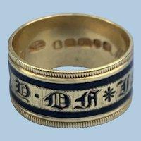 In Memory Of Band, Gold and Black Enamel, Georgian