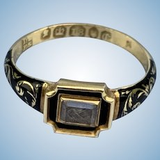 Black Enamel and Hairwork, Mourning ring, Early Victorian