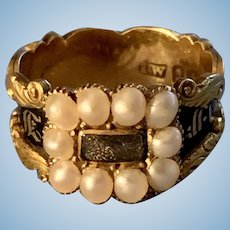 Memorial Ring, Black Enamel, Pearls, Hairwork , Georgian