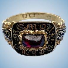 Memorial Ring, Black Enamel and Garnet, Early Victorian