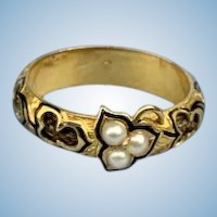 Mourning band, hair, and natural pearls, early Victorian