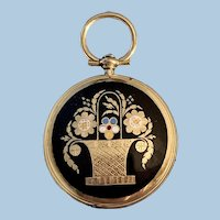 15 carat Memorial Locket, Black Enamel, Mid Victorian