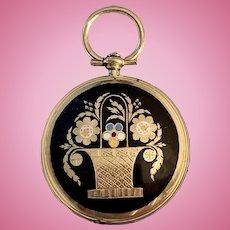 15 carat Memorial Locket, Black Enamel, Mid Victorian
