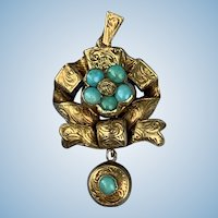 18 carat Turquoise locket with hair work, Victorian