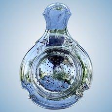 "Silver Tea Strainer, Mogrammed ""M"", Victorian"