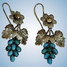 Turquoise Earrings, Grape Pattern, Mid Victorian