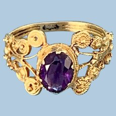 Amethyst Ring With Cannetille Gold Work, 1840
