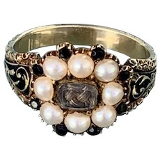 Mourning, Memorial Ring, Hair, natural pearls, and jet, 1823