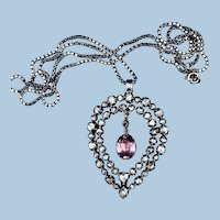 Rose Cut Diamond and Pink Topaz  Heart Shaped Pendant, Georgian