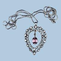 Rose Cut Diamond and Pink Topaz  Heart Shaped Pendant, Georgian