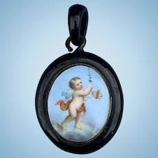 Carved Jet Locket With Cupid Painted on Porcelain, Victorian