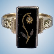 Onyx Intaglio Ring, With Diamond, Victorian