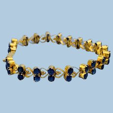"15 Carat Gold Blue Topaz ""heart"" bracelet, Victorian"