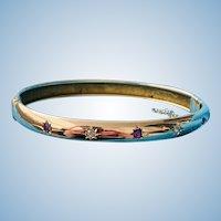 Victorian Bangle Bracelet, Ruby and Diamond
