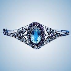 15 ct Aquamarine, Ruby and Diamond Bangle Bracelet, 1880