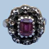 Pink Topaz Ring With Rosecut Diamonds, Georgian