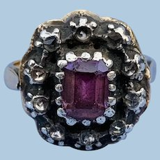 Pink Topaz Ring With Rosecut Diamonds, Georgian
