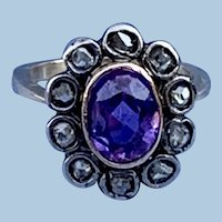 18 carat Amethyst and Rose Cut Diamond Ring, Victorian