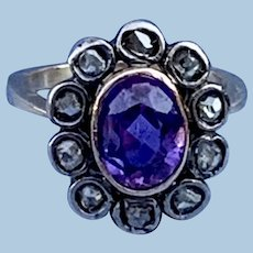 18 carat Amethyst and Rose Cut Diamond Ring, Victorian