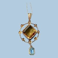 Citrine and Blue Topaz pendant, 9 carat, Victorian