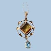 Citrine and Blue Topaz pendant, 9 carat, Victorian
