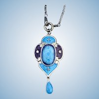 Art Nouveau Pendant, Enamel and Silver