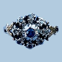 Sapphire and rose cut diamond ring, Late Georgian