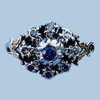 Sapphire and rose cut diamond ring, Late Georgian