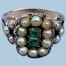 Emerald and Natural Pearl Ring, Georgian