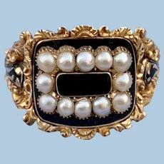 Onyx and Pearl Mourning, Memorial Ring, Georgian