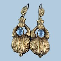 15 carat gold Earrings With Aquamarine, Victorian