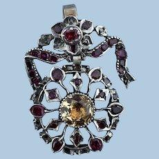 Topaz, Ruby, and Diamond Pendant, Georgian