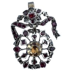 Topaz, Ruby, and Diamond Pendant, Georgian