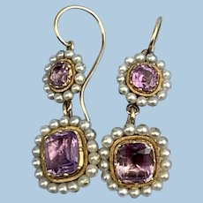 Amethyst and Natural Pearl Earrings, Victorian