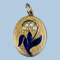 Gold and Enamel Memorial Locket, Lilies, Victorian