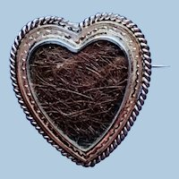 Silver Heart  Pendant/Broach With Hair , Victorian