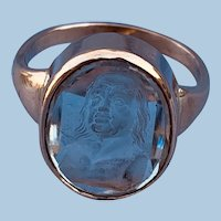 1800 glass intaglio of Ben Franklin set into a ring