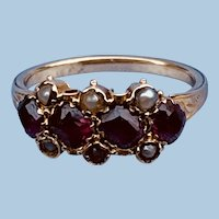 Garnet and Pearl Ring, Late Georgian