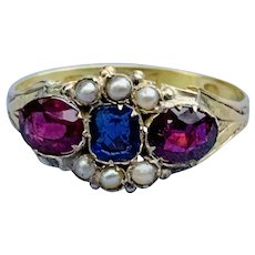 Victorian Garnet , Pearl. And Doublet Ring
