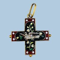 Micromosaic cross, Early Victorian, With Dove, 18 ct