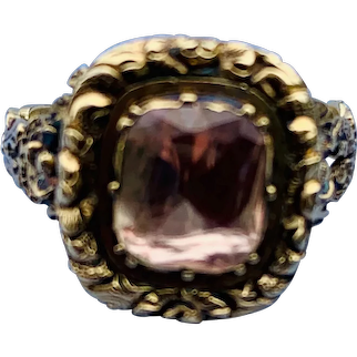 Golden (Pinkish) Topaz Ring, Georgian
