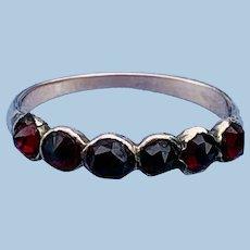 Garnet half hoop ring , Victorian