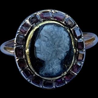 Georgian Cameo Ring With Garnet Surround
