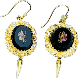 15 carat Micro mosaic earrings, Victorian