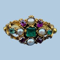 Early Victorian ring with natural pearls, rubies, and emeralds