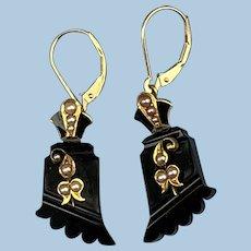 Black Enamel and Seed Pearl Earrings, Edwardian