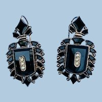 Onyx and seed pearl earrings , Late Victorian