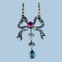 Rose Cut Diamond, Ruby, and  Aquamarine, bow motif, necklace, Victorian