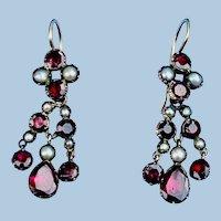 Garnet and pearl Earrings, Georgian